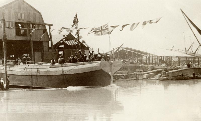 1920 - launch of Sailing Barge Raybel - Milton Creek, Kent