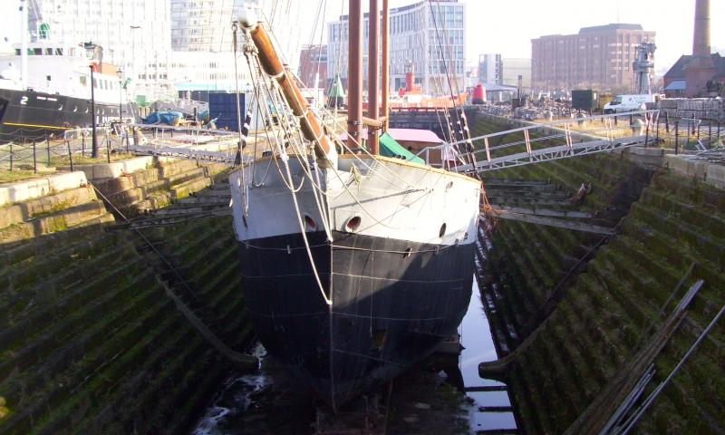bow view, in dry dock