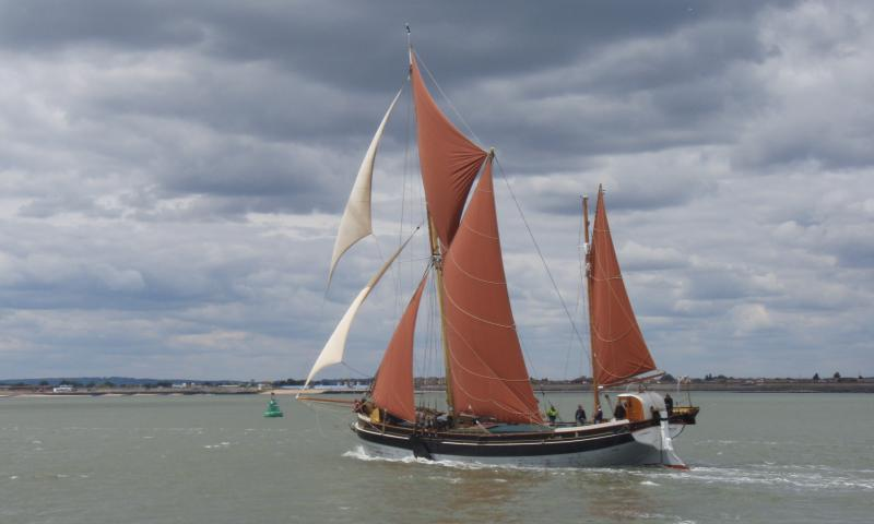 Cambria - winning her class in 2011 Thames barge race