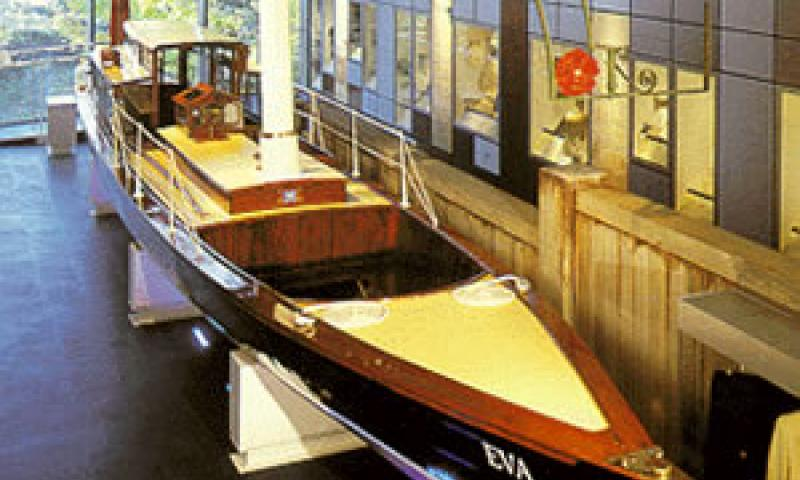 EVA - inside gallery at Rowing Museum, Henley. Bow looking aft.