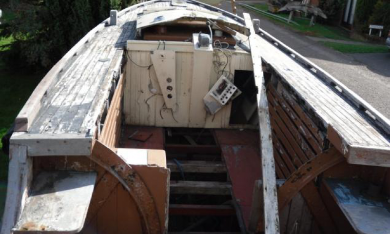 Terrier - interior fwd. Stringers and plank removed each side, plus damage to beamshelf