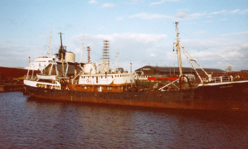 EXPLORER - alongside the quay at Leith. Starboard side.