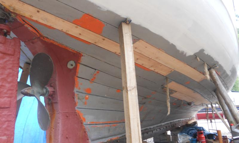 Starboard stern new planks in