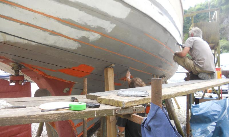 starboard aft, having been splined, caulked and puttyed