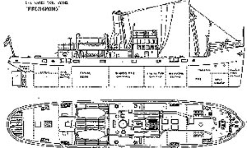Artist's impression of FRESHSPING. General arrangement and deck plan.