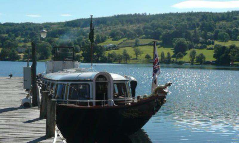 Gondola at her mooring on Coniston
