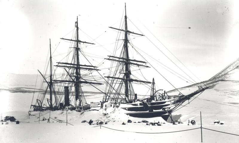 The Discovery locked in ice