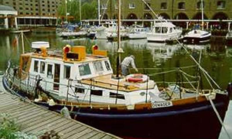DOWAGER - in St Katherine's Dock, London. Starboard bow looking aft.