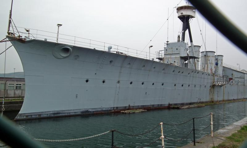 Photo Comp 2012 entry: HMS Caroline - Only WW1 Royal Navy ship in existence, now based in Titanic Quarter in Belfast - commissioned 1914 - survivor of Battle of Jutland - note crescent shaped hull for ramming submarines