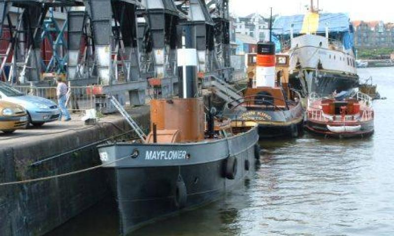 Mayflower - moored, port view