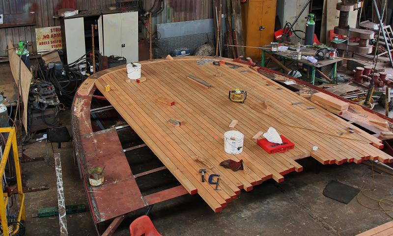 Medway Queen - pre-fabrication of the counter in the workshop inc laying of deck timber