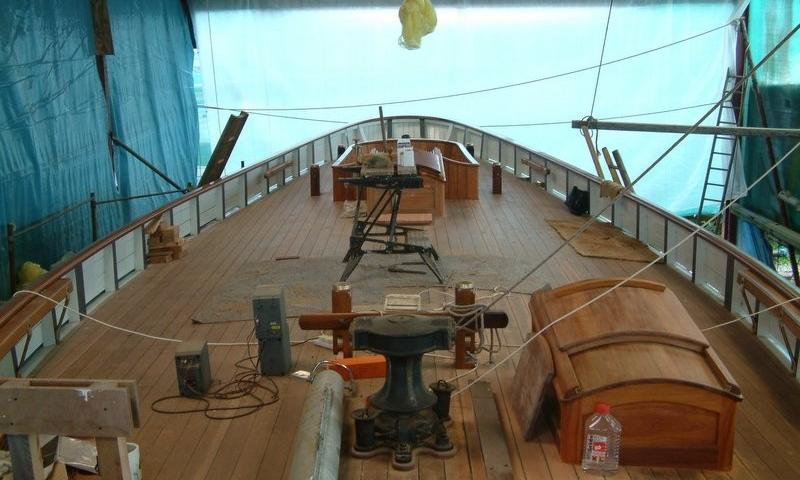 Kindly Light being restored - deck view