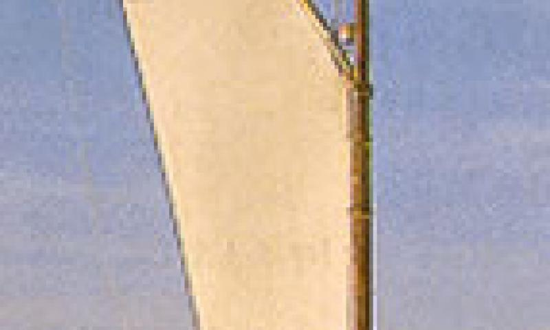 Olive under sail - bow view