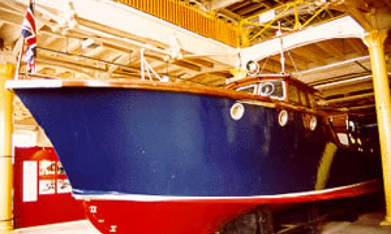 HUMBER - under cover in No. 6 boathouse. Starboard bow looking aft.