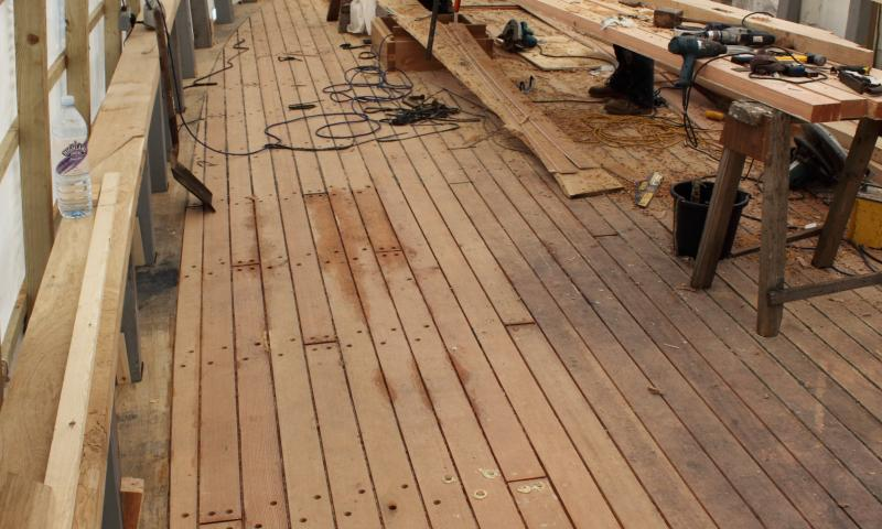 Leader - new deck complete, with work starting on capping rail