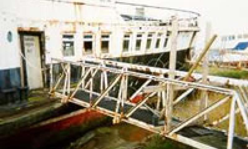RYDE QUEEN - starboard side amidships. Gangway looking forward.