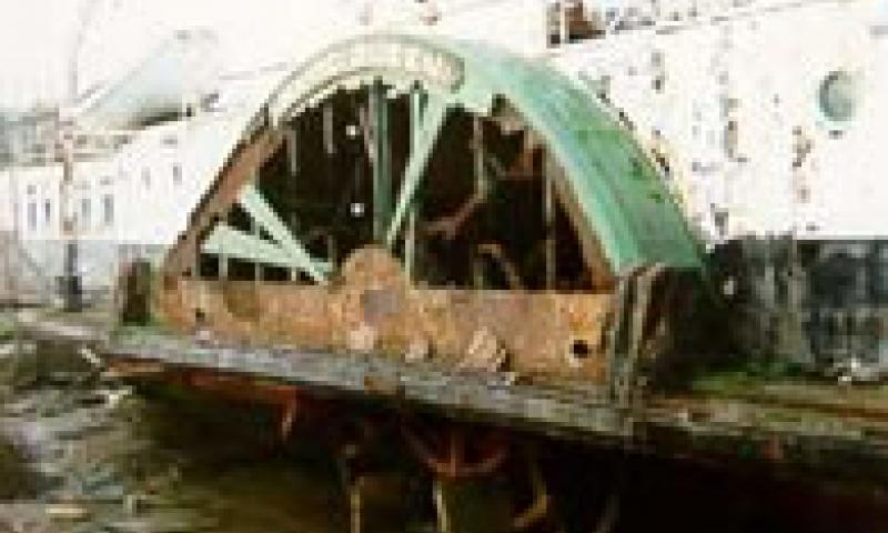 RYDE QUEEN - starboard side amidships showing corrosion holes ansd some plate repairs at waterline