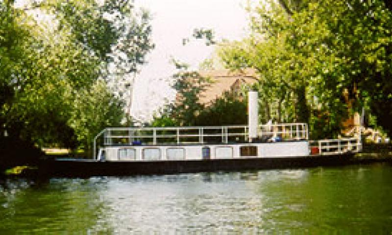 SABRINA - moored up on the riverbank. Starboard side.