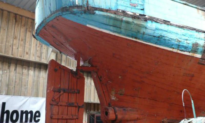 Harriet's starboard quarter and rudder