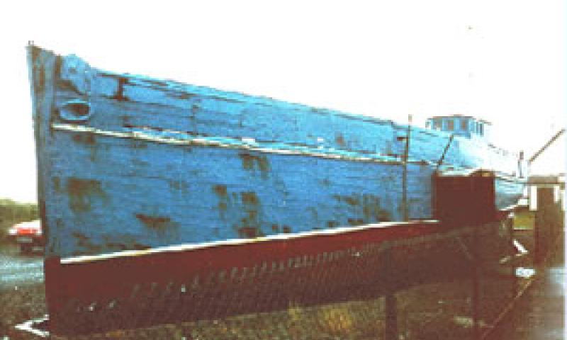 HARRIET  - in her dry dock. Port bow looking aft. 3 Dec 1995.