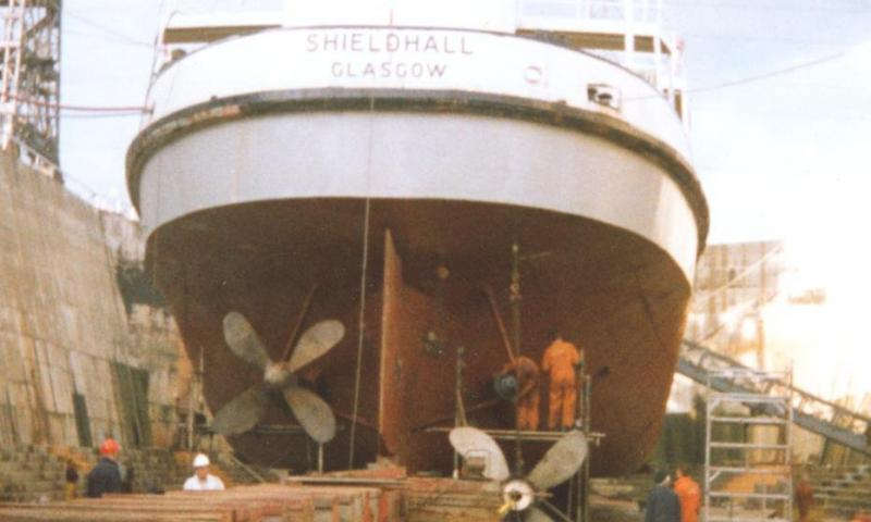 Shieldhall - out of the water, stern view