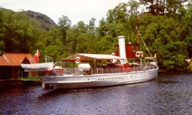 SS Walter Scott - stern looking forward from starboard quarter, tied up alongside Trossachs Pier.
