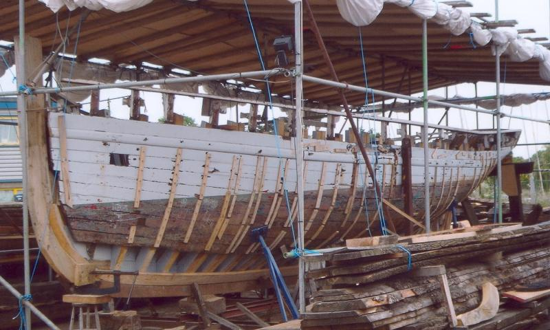 Maria being restored - port bow