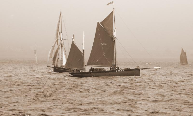Vigilance - under sail, with Leader