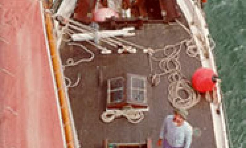 NELL - main deck looking down from mast head.
