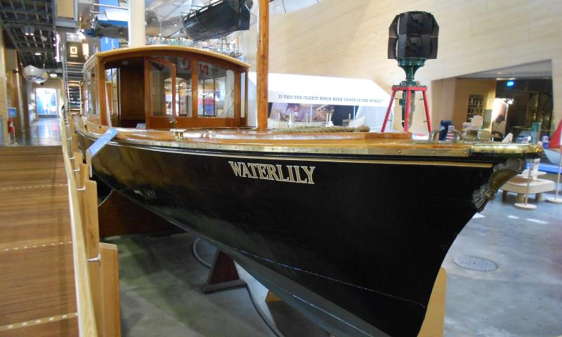 Waterlily on display at National Maritime Museum Cornwall, starboard bow