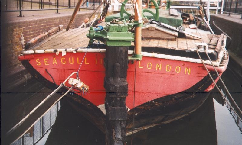 SEAGULL - at Free Trade Wharf, London, 5 December 1998. Stern view.