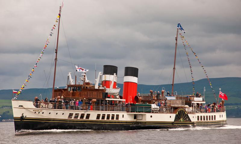 Photo Comp 2012 entry: PS Waverley - dressed overall crossing the Firth of Clyde during a special cruise to celebrate the 80th anniversary of the Clyde River Steamer Club.
