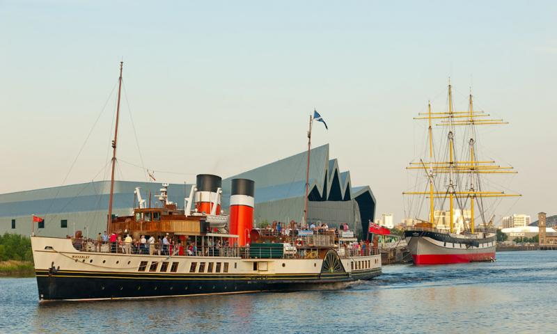 Photo Comp 2012 entry: PS Waverley - Two for the price of one, PS Waverley passes the Tall Ship Glenlee on an evening sail down the river Clyde