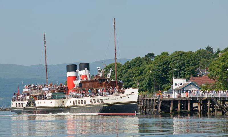 NHS-UK 2013 Photo Comp: Graeme Phanco - Paddle steamer WAVERLEY arriving at Kilcreggan Pier on the Clyde