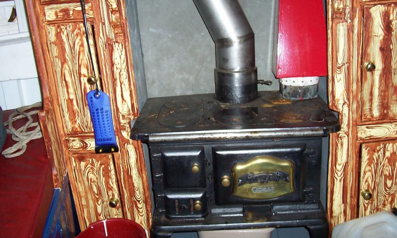 The interior of Albion - her stove