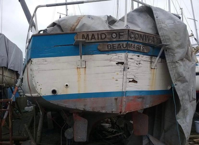 Photo of Maid of Conway @ 2017 lying at Gweek Classic Boatyard before start of Mr Paul Morgans restoration.